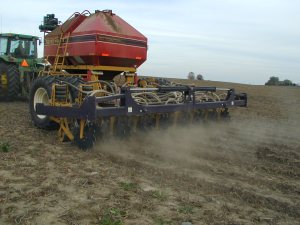Figure 5. Strip tillage & fertilization in bean residue (credit: Patrick Lynch)