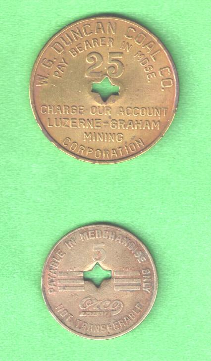 Duncan coal mine tokens